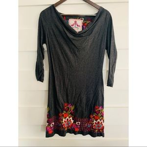 (NWOT)Johnny Was- Grey Embroidered Dress